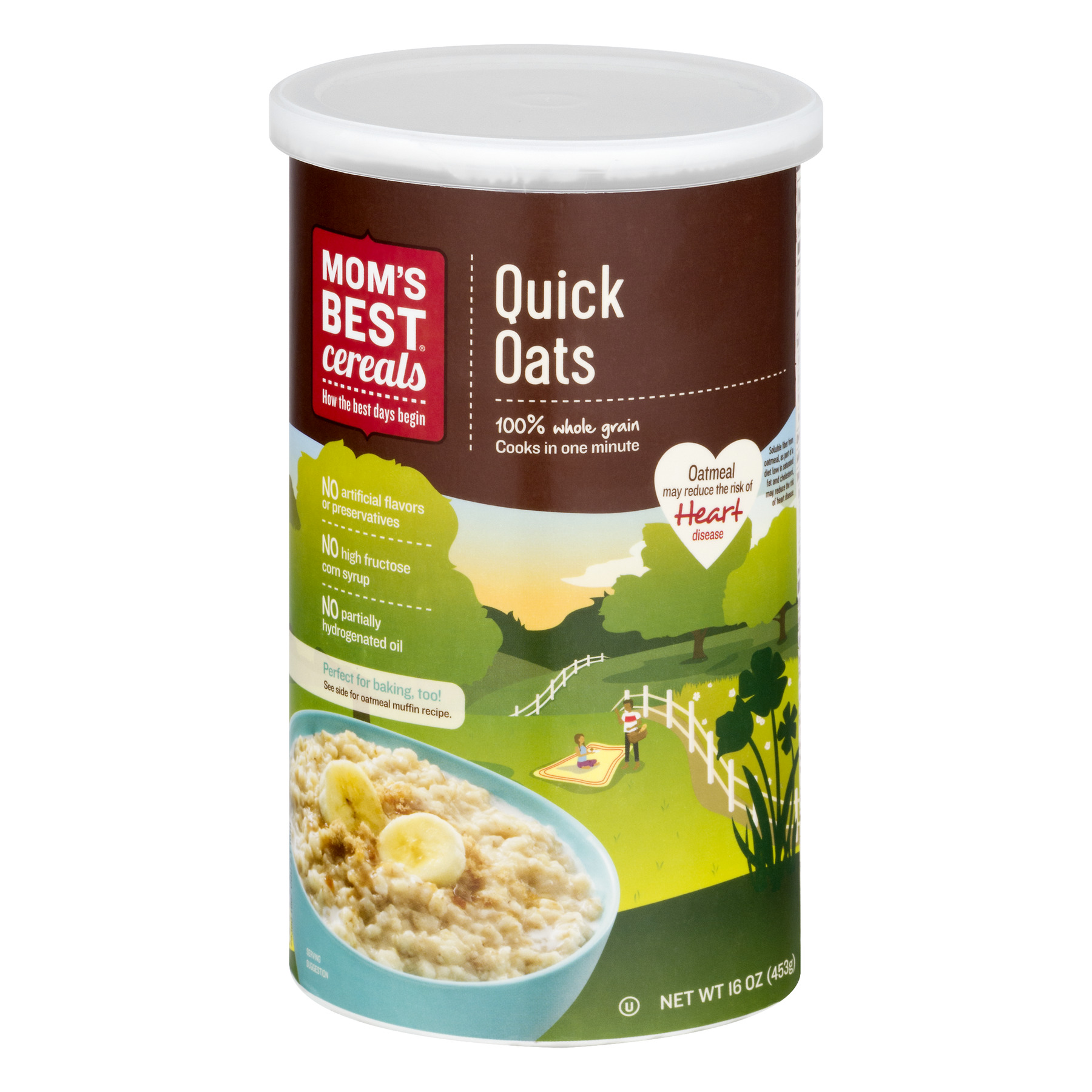 (4 Pack) Mom's Best Cereals Whole Grain Oatmeal, Quick Oats, 16 Oz