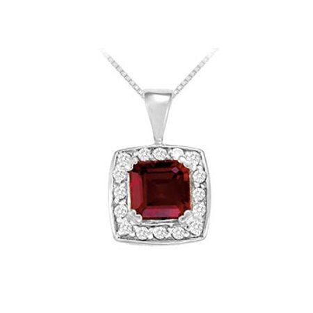 Fancy Square Garnet and Cubic Zirconia Halo Pendant in Sterling Silver - image 1 de 2