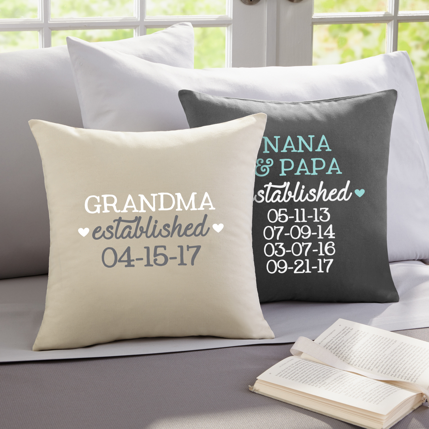 Personalized We Became Grandparents  Throw Pillow - Gray
