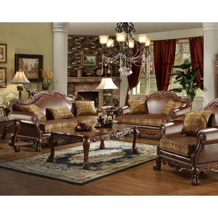 Cherry Oak & Brown Chenille Sofa & Loveseat Set 2Pc Acme Furniture 15160  Dresden