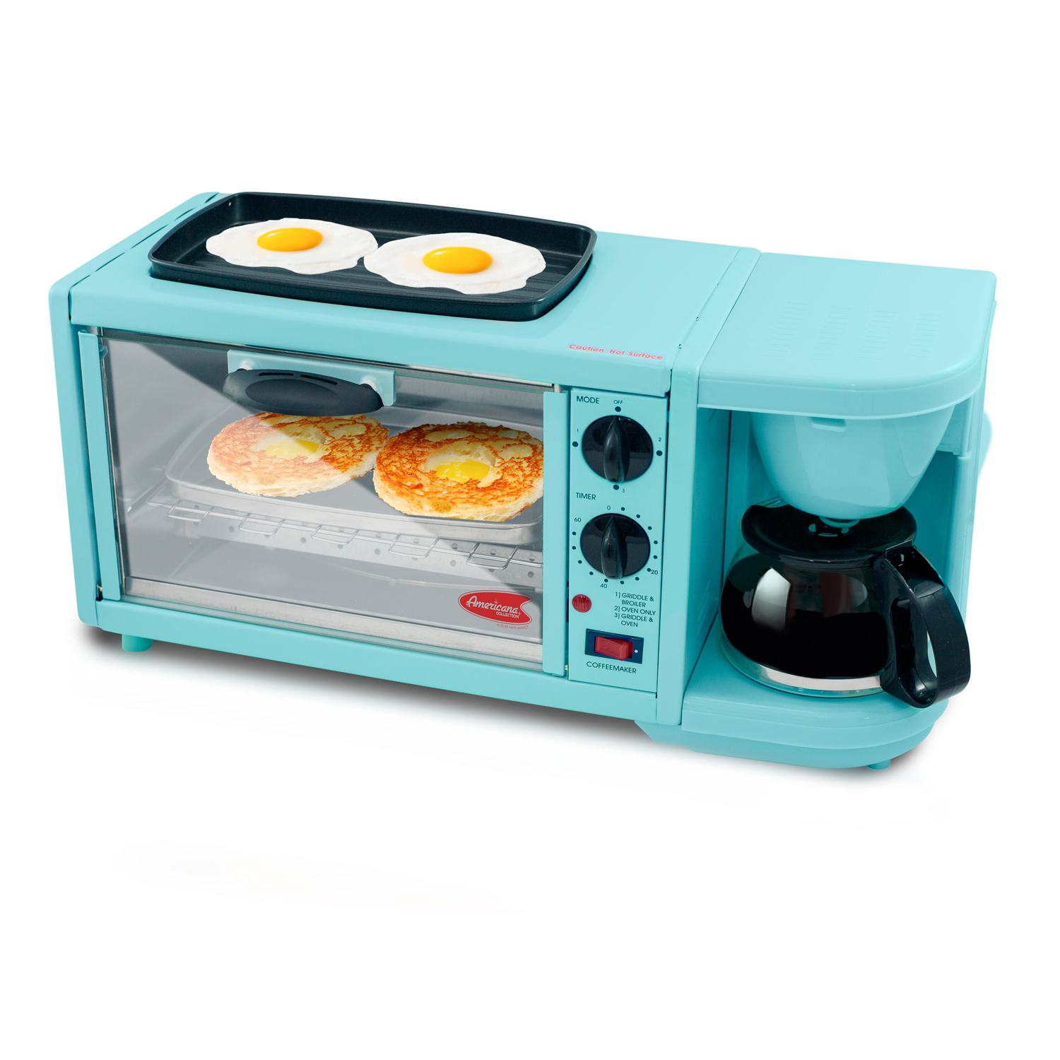 Americana by Elite 3 in 1 Extra Large Breakfast Center, Coffee, Toaster Oven, Griddle, Blue by Maxi Matic USA