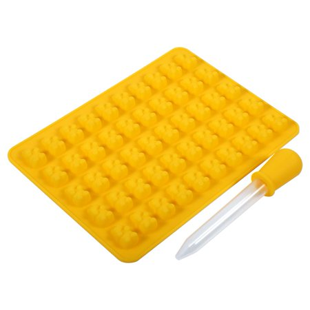 Charity Bear - DIY Fashion Kitchen Tools Mold,50 Cavities Silicone Gummy Bear Chocolate Mold Candy Maker Ice Tray Jelly Mould,Yellow