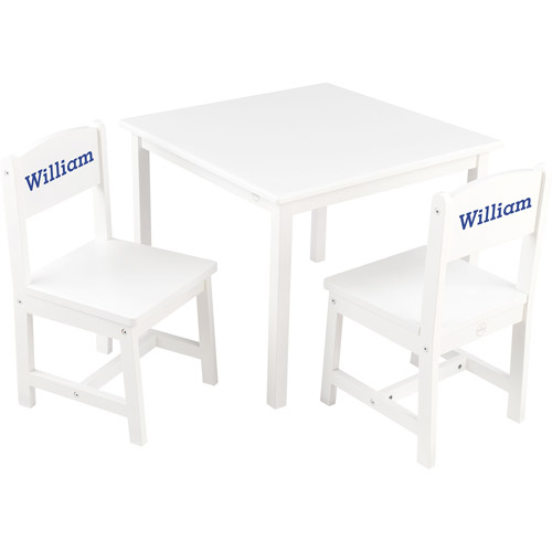 KidKraft - Personalized Aspen White Table and Chair Set, Blue Serif Font Boy's Name