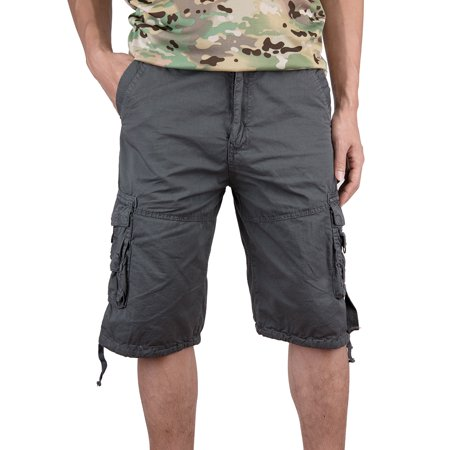 Loose Fit Military Style Cargo Shorts Straight Leg Milti Pockets Plus Size