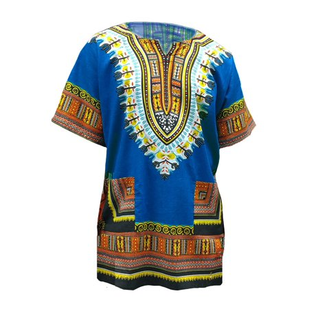 Africa Shirt (Blue African Print Dashiki Shirt from S to 7XL Plus Size)