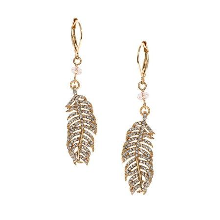 Worn Goldtone Feather Drop Earrings