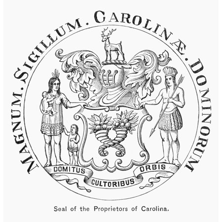Colonial Seal Carolinas Nseal Of The Proprietors Of Carolina Adopted Following King Charles Iis Grant Of The Colony In 1663 Wood Engraving 1878 Rolled Canvas Art     24 X 36