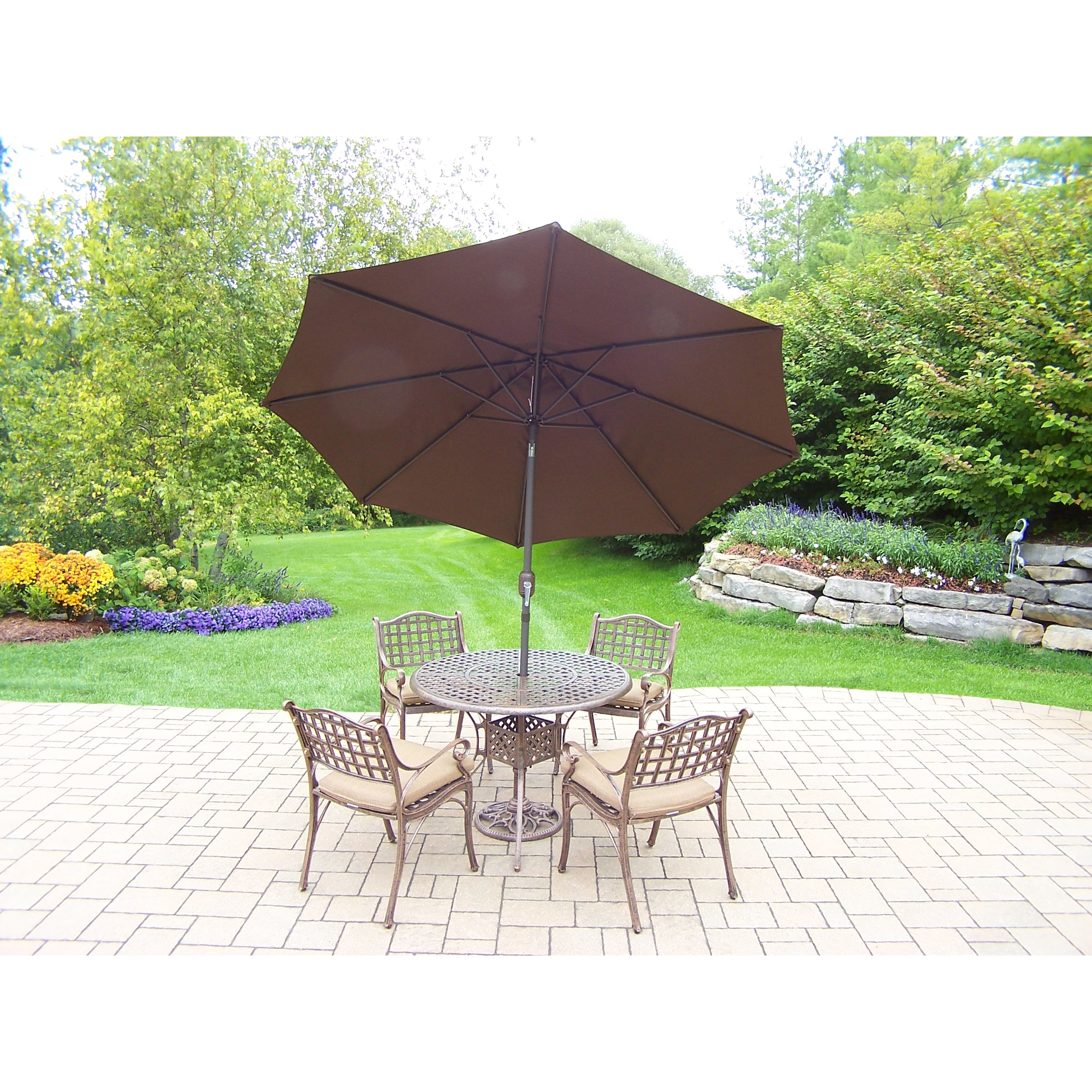 Oakland Living Corporation 7 Pc Dining Set with table, 4 cushioned chairs, Umbrella and Stand