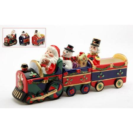 Christmas Holiday Santa Snowman Nutcracker Train Salt and Pepper Shaker Set of 3 - Snowman Salt And Pepper Shakers