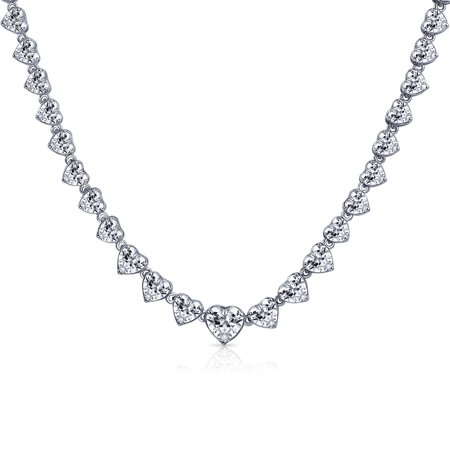 - Bridal Cubic Zirconia Statement Heart Shaped AAA CZ Tennis Necklace For Women For Wedding For Prom Silver Plated Brass