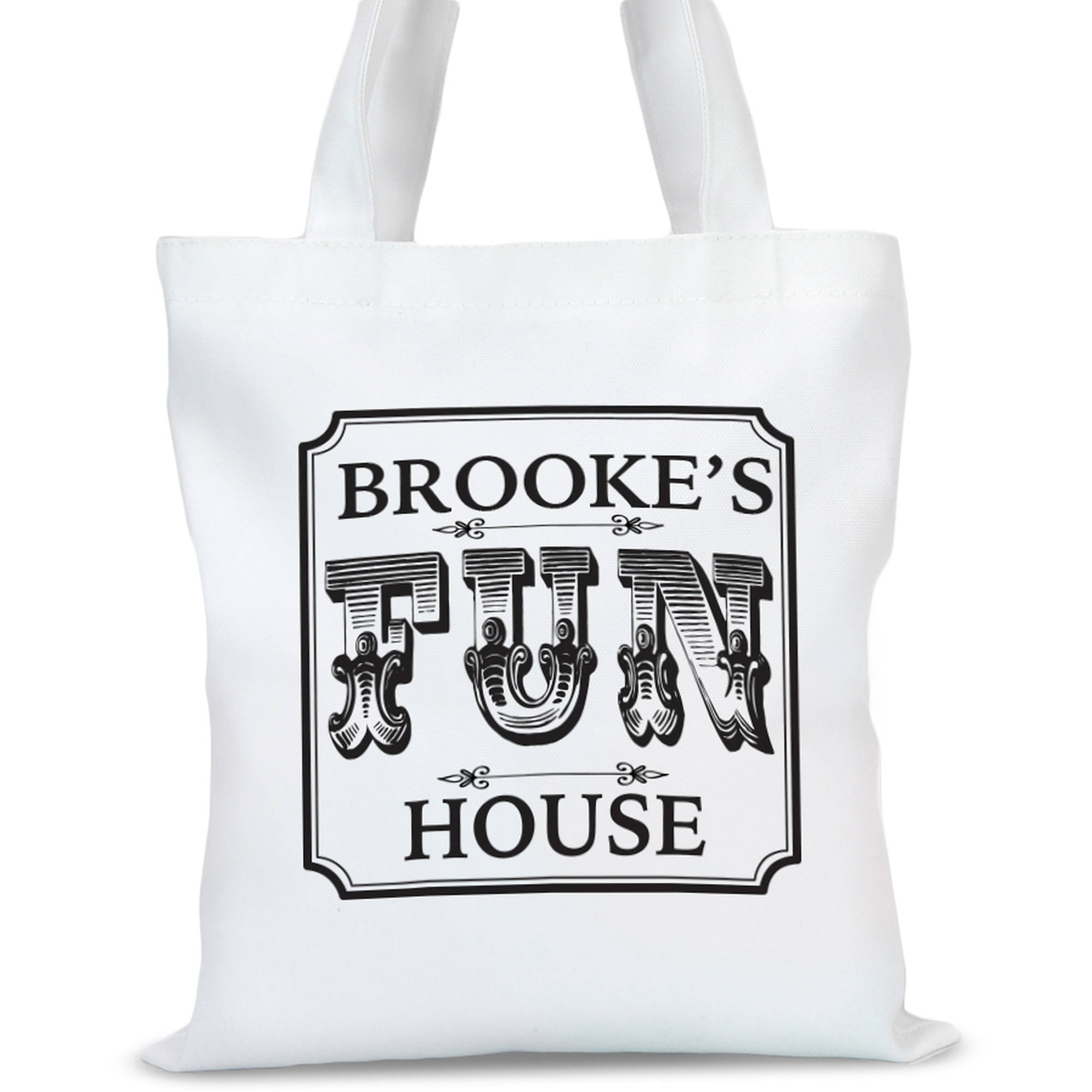 "Personalized Fun House Tote Bag, Sizes 11"" x 11.75"" and 15"" x 16.25"""