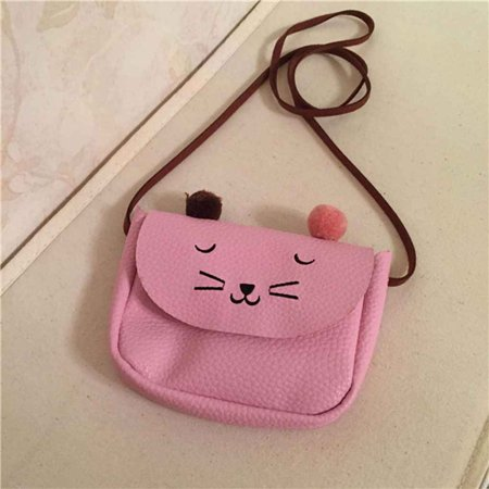 Faux Leather Lovely Cat Girls Small Coin Purse Kids Coin Pouch Single Shoulder Purse - Faux Leather Coin Purse