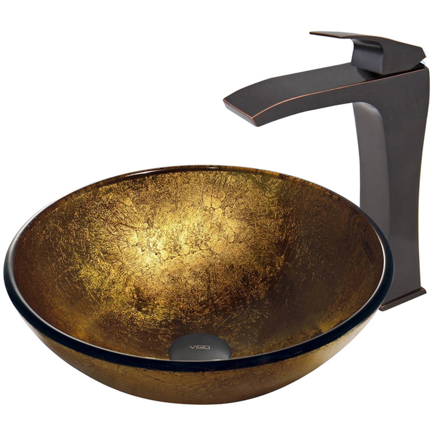 VIGO Liquid Gold Glass Vessel Sink and Blackstonian Faucet Set, Antique Rubbed Bronze Finish