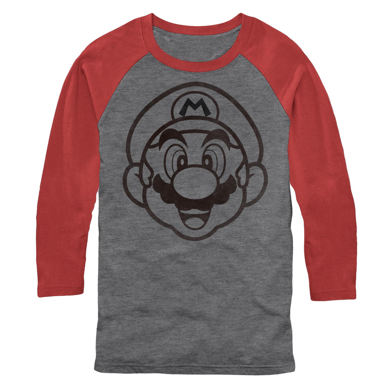 Nintendo Men's Mario Outline Baseball Tee