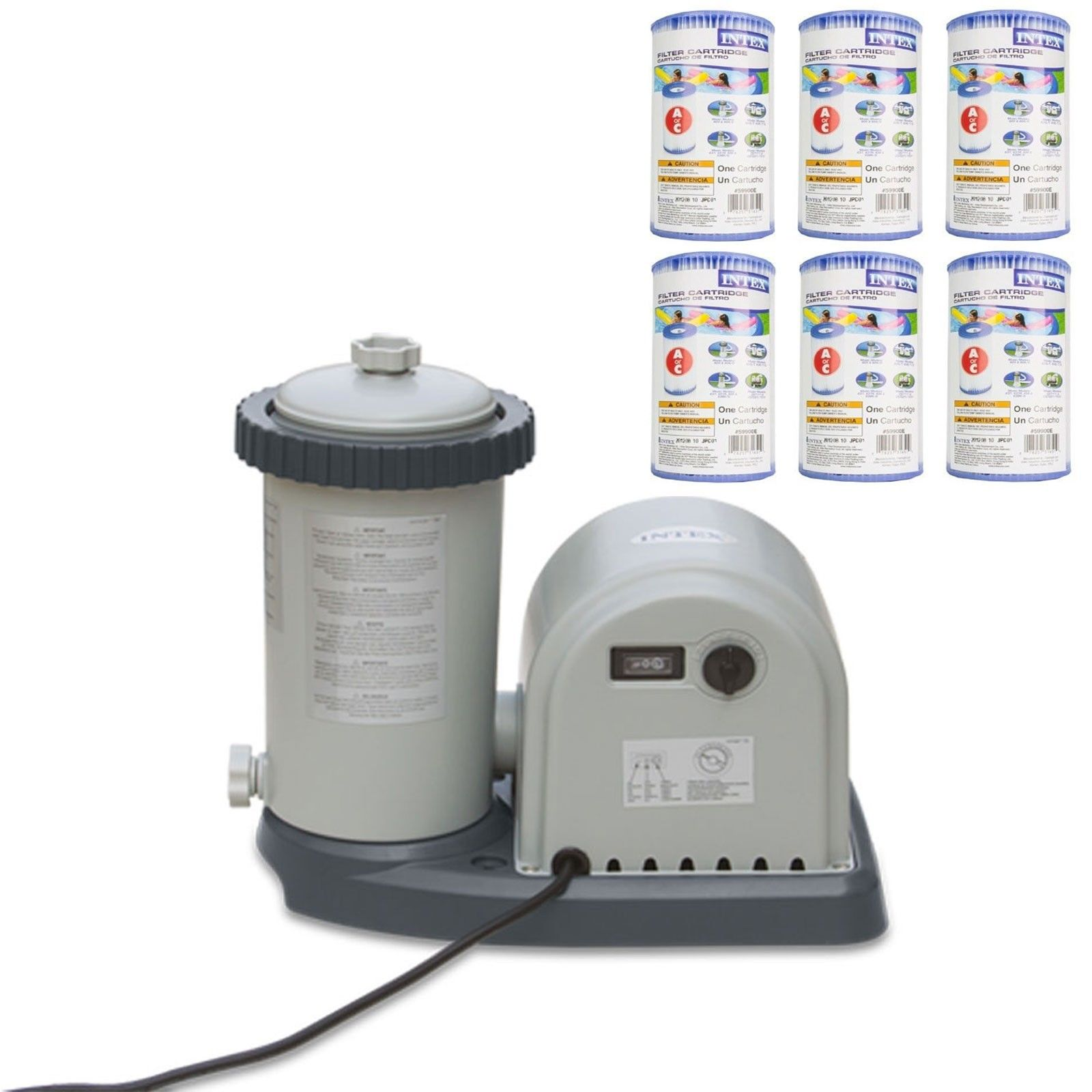 Intex 1500 GPH Easy Set Pool Filter Pump GFCI & 6 Type A   C Filter Cartridges by