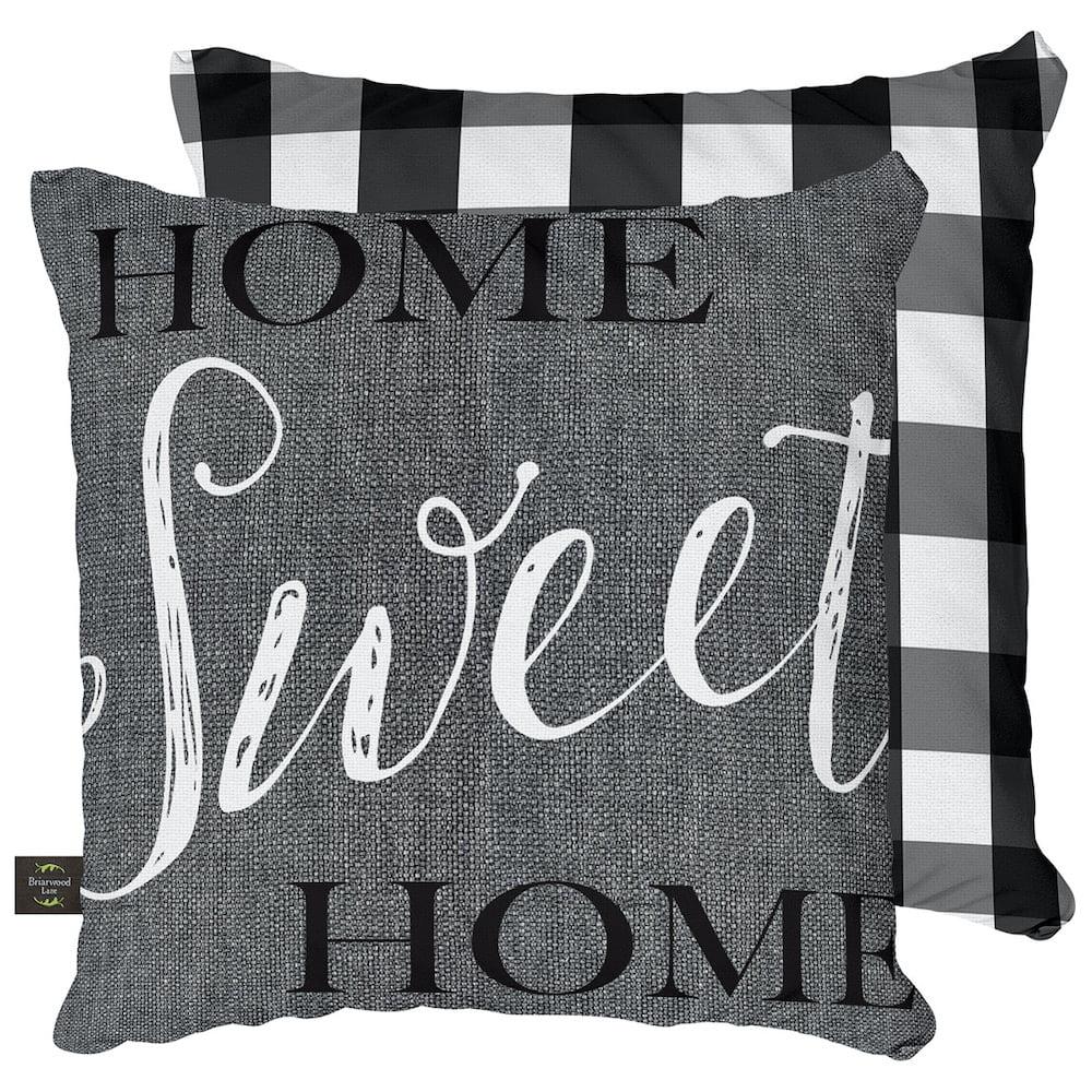 Home Sweet Home Everyday Decorative Pillow Checkered Indoor Outdoor 17 X 17 Briarwood Lane Walmart Com Walmart Com
