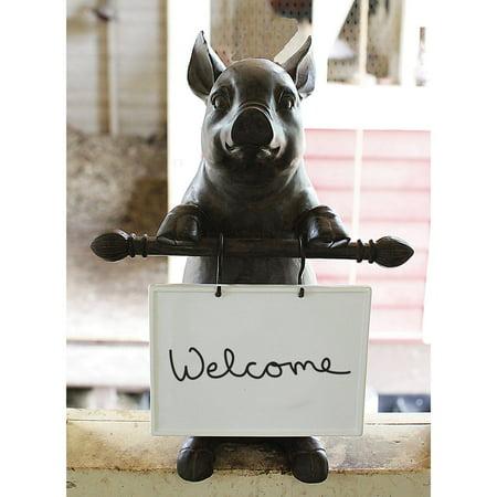 3R Studios Resin Pig Sculpture Holding Message Board