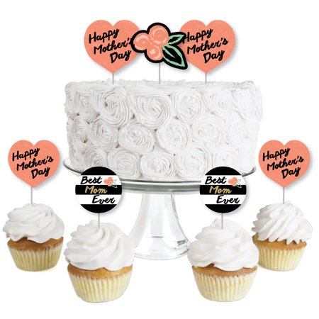 Best Mom Ever - Dessert Cupcake Toppers - Mother's Day Clear Treat Picks - Set of (Best Way To Frost Cupcakes With Store Bought Frosting)