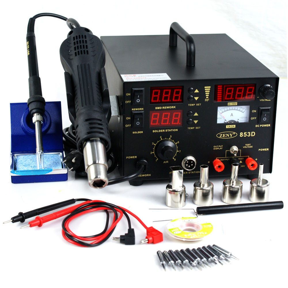Zeny 3 in 1 853D SMD DC Power Supply Hot Air Iron Gun Rework Soldering Station Welder