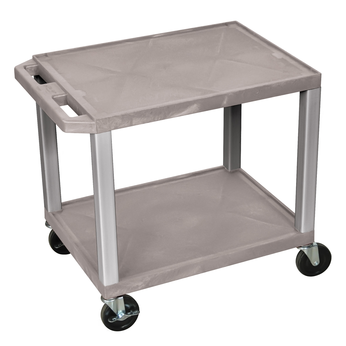 Luxor AV Equipment Storage Cart With 2 Shelf And Nickel Legs