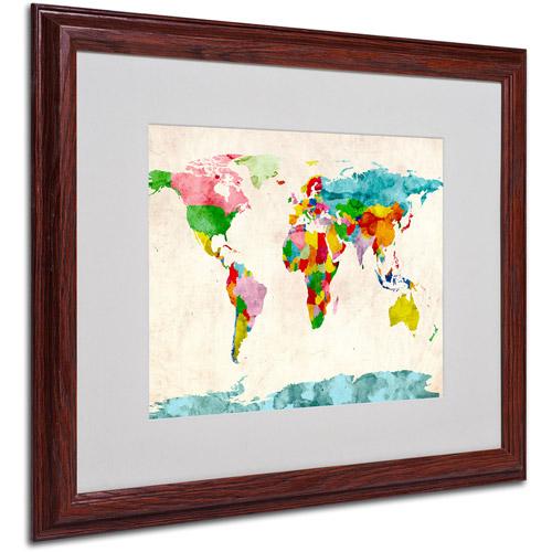 Trademark Art 'Watercolor Countries'  Matted Framed Art by Michael Tompsett