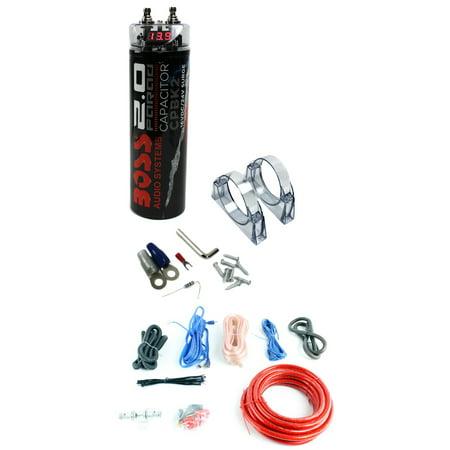 BOSS CPBK2 2.0 FARAD LED Digital Car Capacitor Cap + 4 Gauge Amp Install Kit