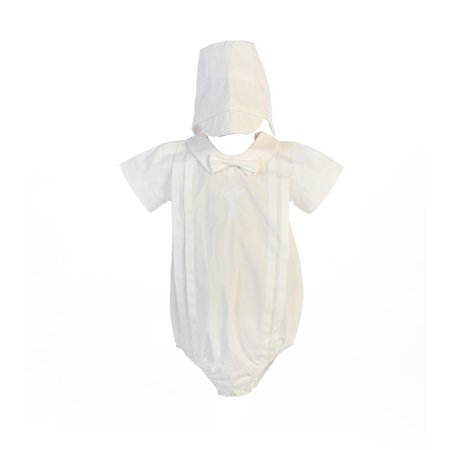 Baby Boys White Embroidered Celtic Cross Christening Hat Romper