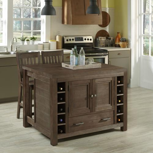 Home Styles Barnside Kitchen Island and Two Stools