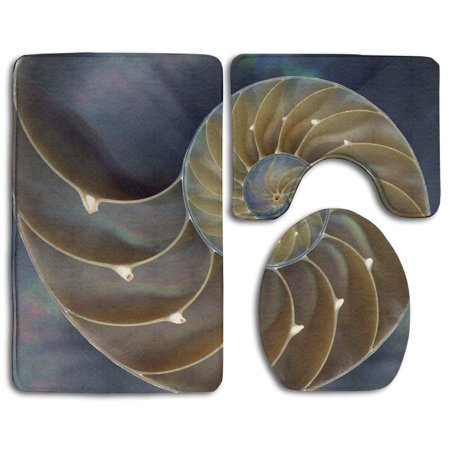XDDJA Amazing Chambered Nautilus Painting 3 Piece Bathroom Rugs Set Bath Rug Contour Mat and Toilet Lid Cover - image 2 de 2