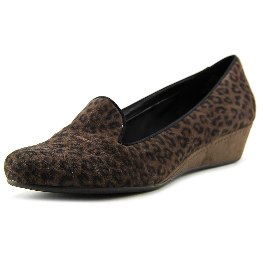 Easy Spirit Davita Open Toe Leather Wedge Heel by Easy Spirit