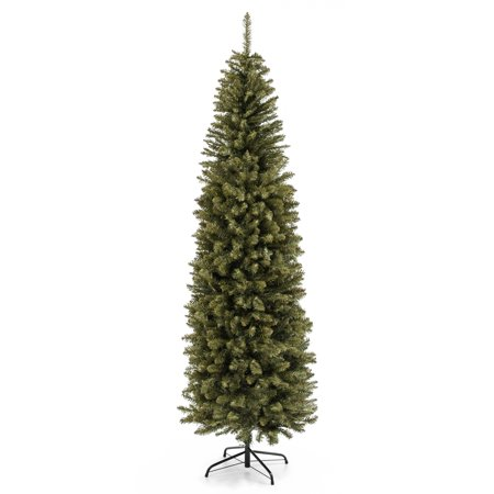 Best Choice Products 7.5-foot Hinged Fir Pencil Artificial Christmas Tree with Metal Foldable Stand, Easy Assembly, Green