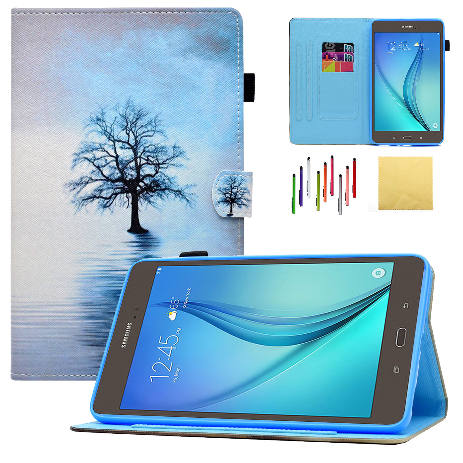 """Galaxy Tab A 8.0"""" 2017 Tablet Case,SM-T380 Case,Goodest Folio Folding Stand Cover with Pencil Holder Auto Wake/Sleep for Samsung Galaxy Tab A 8.0-inch [NOT Fit 2015 Tab A 8.0 SM-T350],Water Cat"""