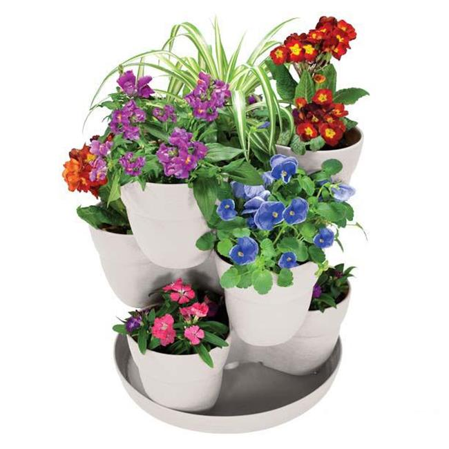EmscoGroup 2384-1 Bloomers-3 TIER FLOWER TOWER  PODS FIT 5  POTTED PLANTS  INCLUDES TRAY  STACKING