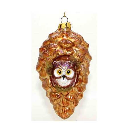 Wise Owl in a Pine Cone Blown Glass Christmas Ornament 5 Inches