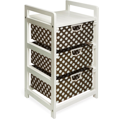 Badger Basket - White Three Drawer Hamper/Storage Unit , Brown Polka Dots