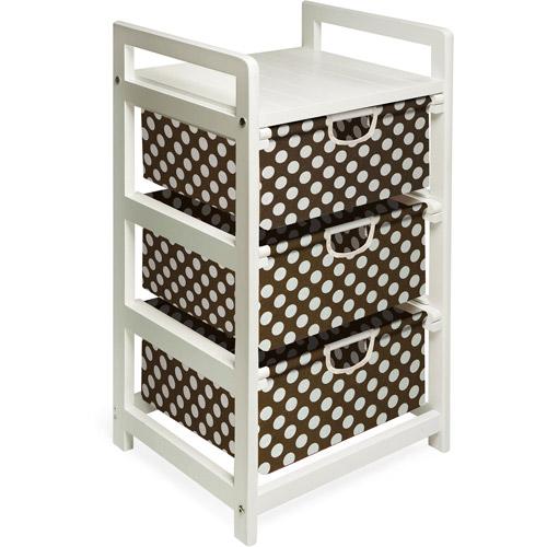 Badger Basket - White Three Drawer Hamper/Storage Unit , Brown Polka Dots