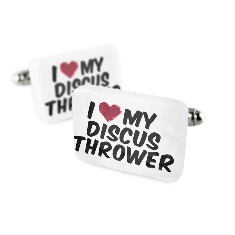 Cufflinks I heart love my Discus Thrower Porcelain Ceramic NEONBLOND