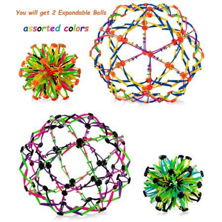 4E's Novelty Pack of 2 Expandable Balls, Hand Catch Flower Expanding Breathing Ball for Kids Boys and Girls Great Stress Relief and Anxiety Toy Helpful Gift for ADD ADHD Sensory - Stress Relief Gift