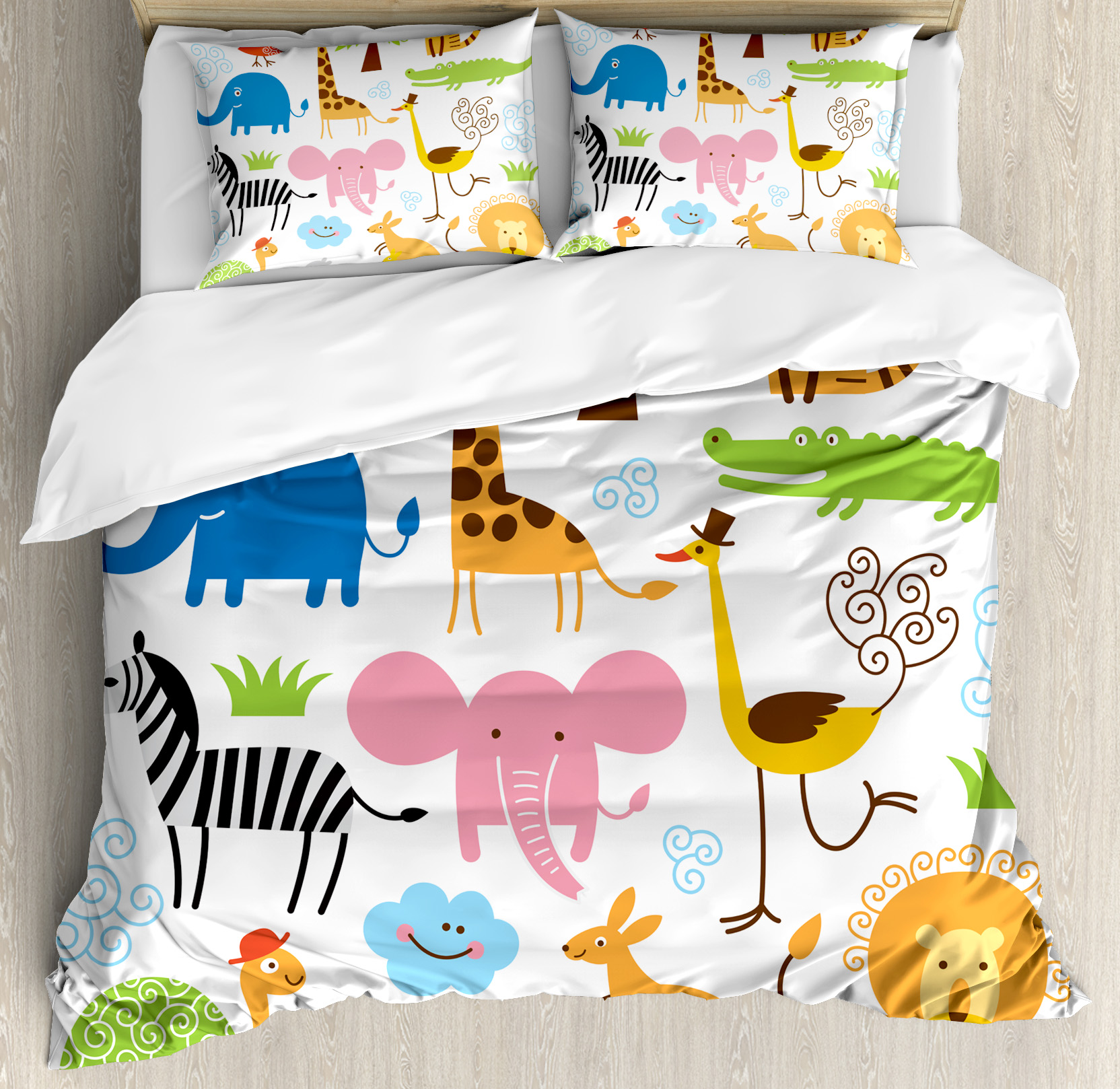 Click here to buy Animal King Size Duvet Cover Set, Cute Set of Giraffe Elephant Zebra Turtle Kids Nursery... by Kozmos.