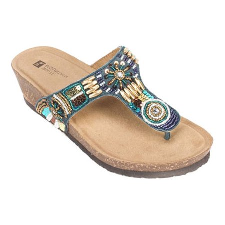 women's white mountain brilliant beaded thong sandal - Sandals Beaded