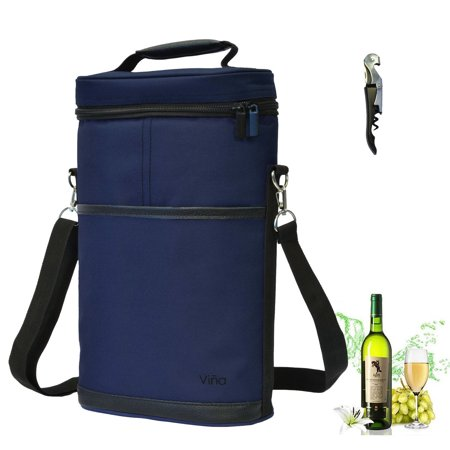 Vina 2 Bottle Wine Carrier Bag Champagne Carrying Tote Bags Picnic Cooler Insulated Travel Case Black Free Cork