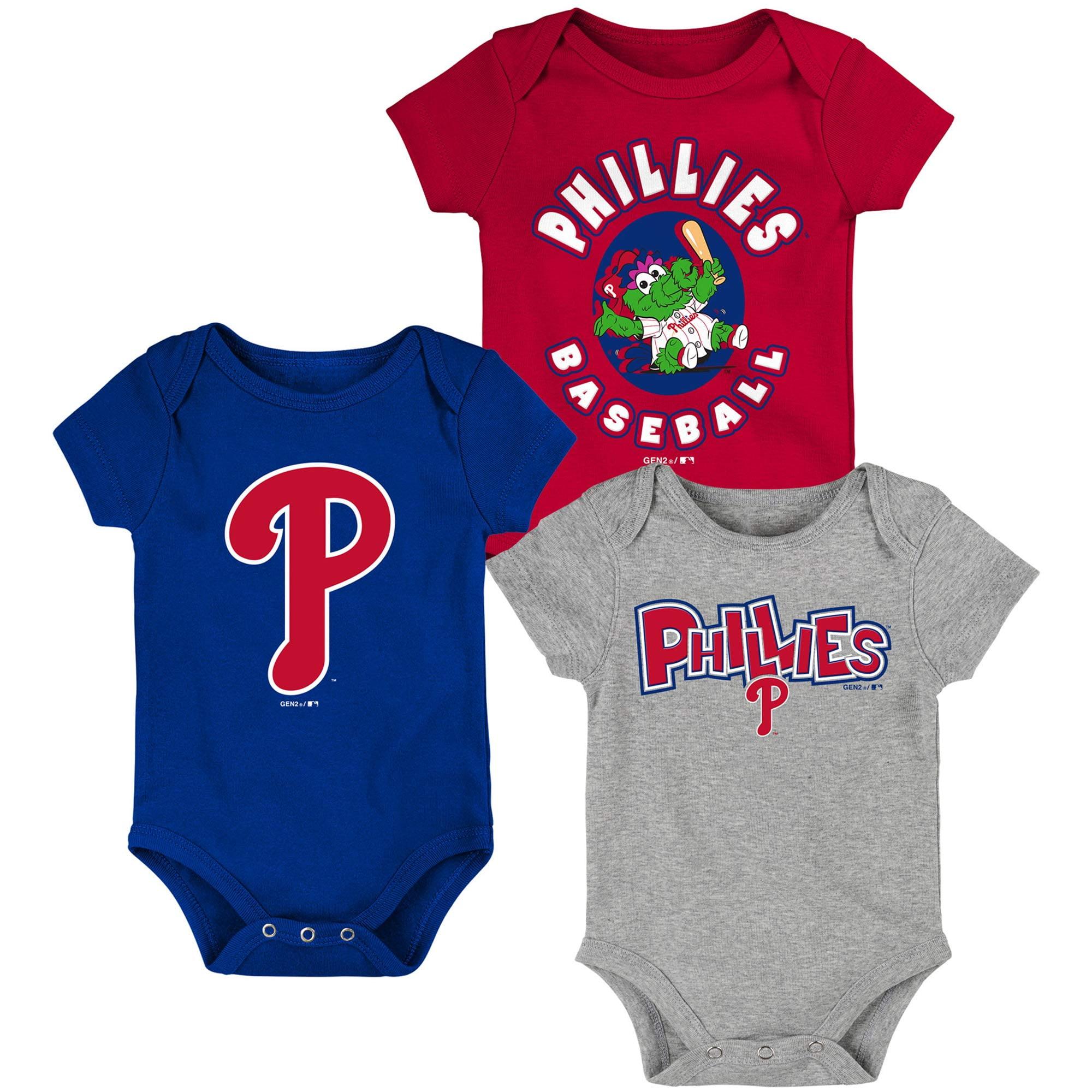 Philadelphia Phillies Newborn & Infant Everyday Fan Three-Pack Bodysuit Set - Red/Royal/Heathered Gray