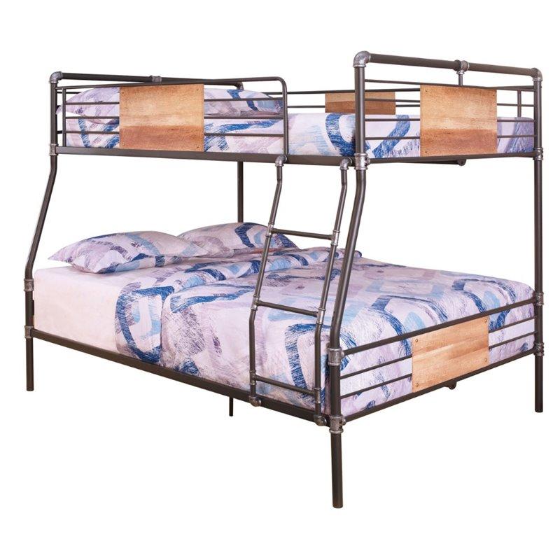 Rosebery Kids Full XL over Queen Metal Bunk Bed in Sandy Black