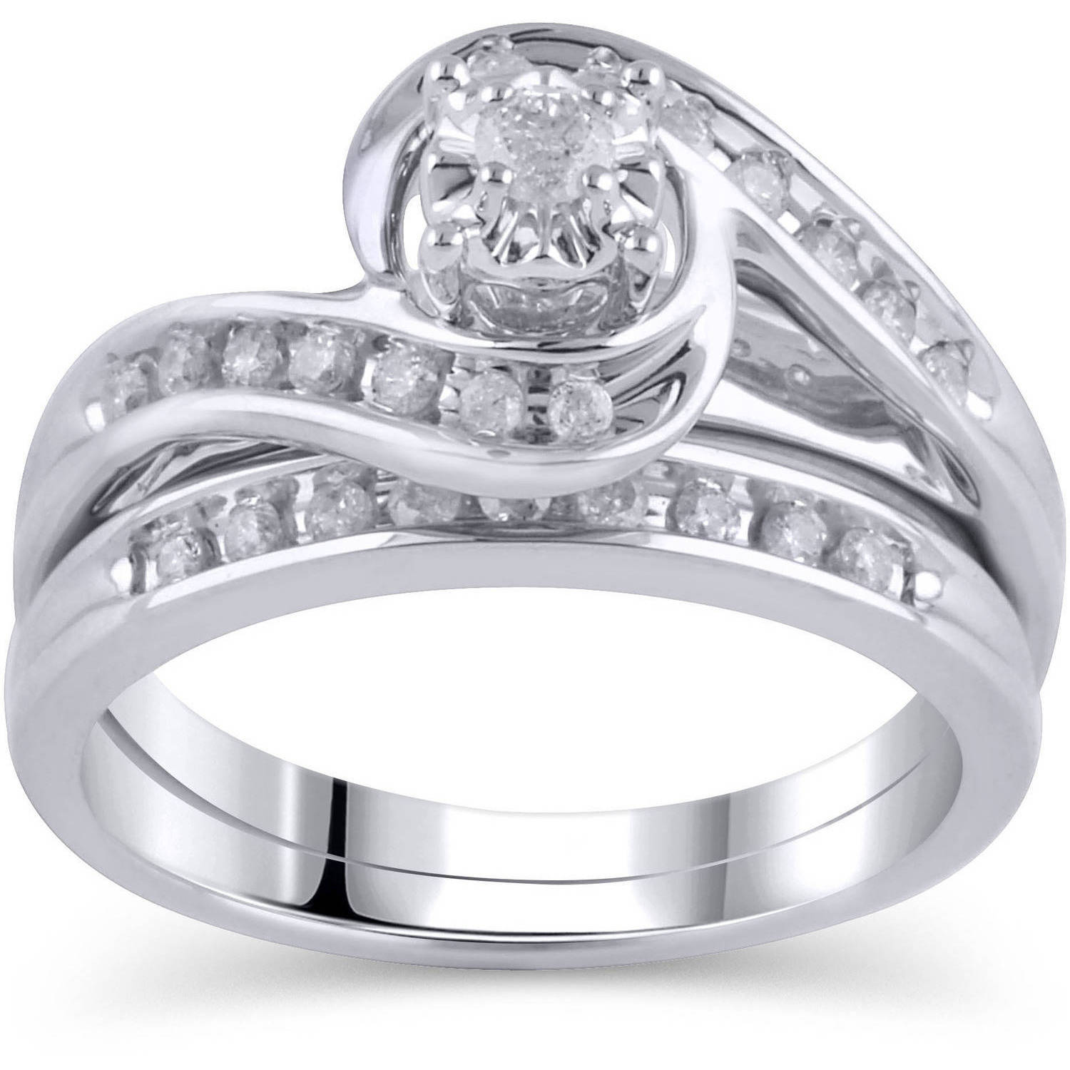 1/3 Carat T.W. Diamond Bypass Ring Bridal Set in 10kt White Gold, Size 6