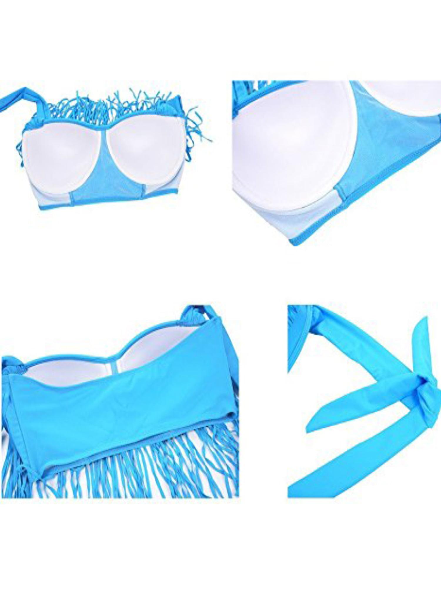 7901ecb3254fc Lelinta - LELINTA Women s Two Piece Braided Fringe Top High Waist Bottoms  Bikini Set Swimwear Plus Size Swimsuit Black Blue Red - Walmart.com