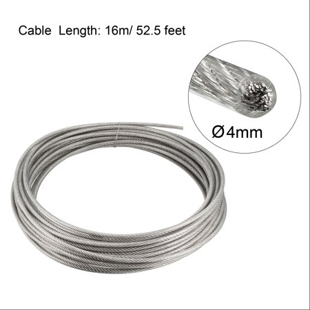 Stainless Steel Wire Rope Cable 4mm 0.16 inch Dia 52.5ft 16m Length 8 Gauge 304 Grade PVC Coated for Hoist Lifting Grind - image 1 de 2