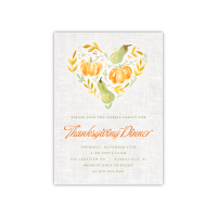 Personalized Thanksgiving Invite - Heart Gourd - 5 x 7 Flat