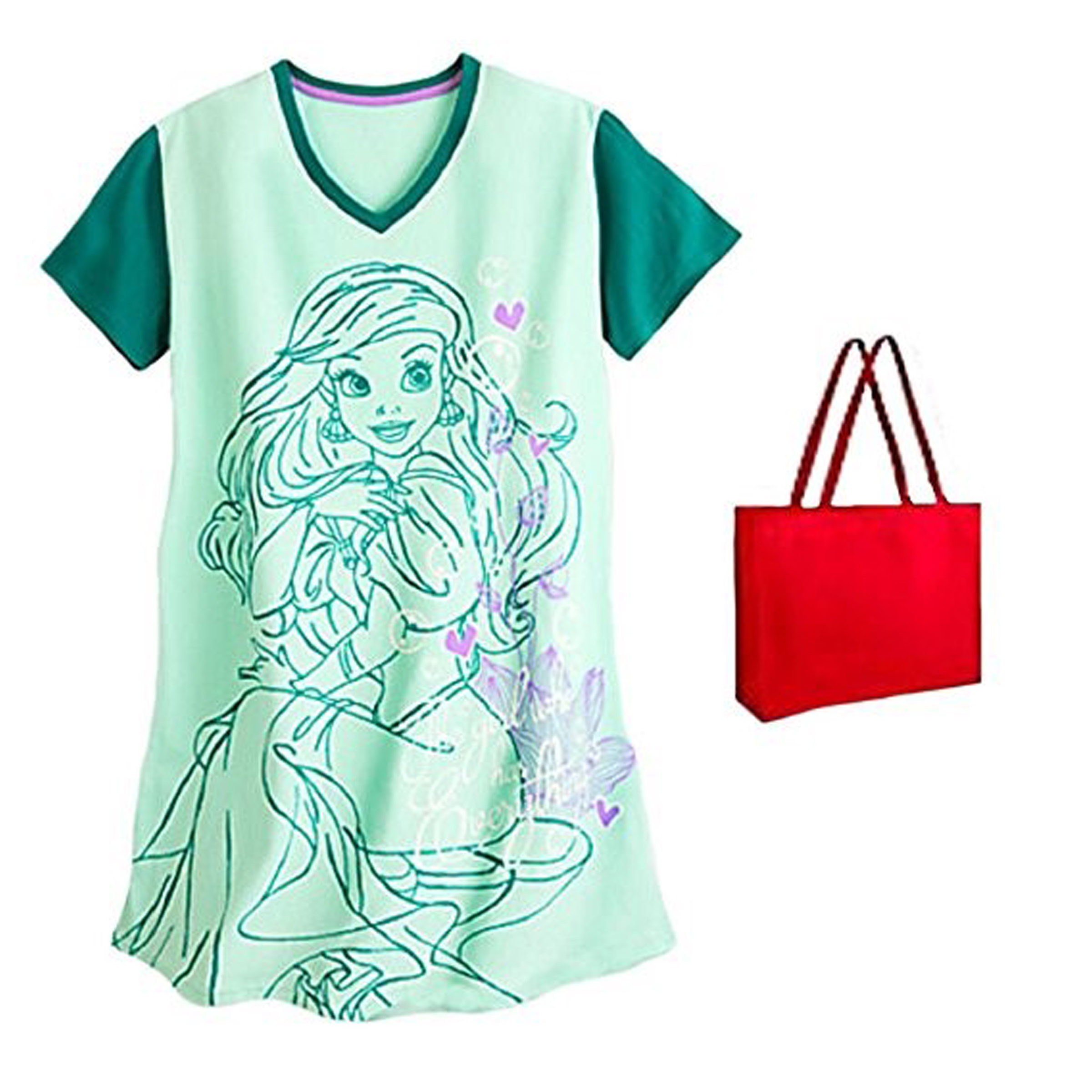 Disney The Little Mermaid Ariel Womens' Nightshirt & Tote - 2 Piece Gift Set
