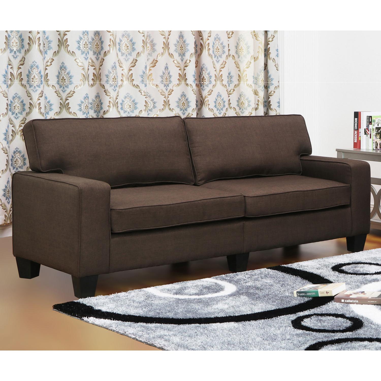 Emelia Dark Brown Linen Modern Living Room Sofa