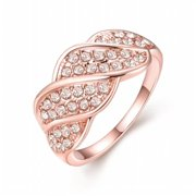 Rubique Jewelry 18K Rose Gold Plated Crystal Pave Ring  Size 6